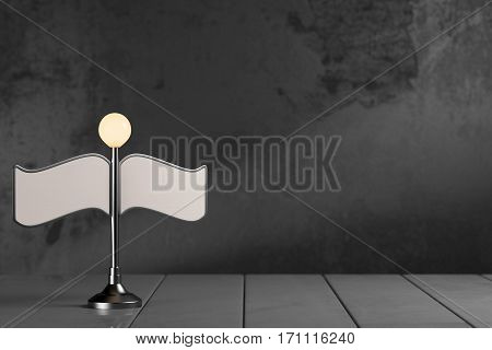 Street light with blank banners on dark grey background with copy space. 3d rendering