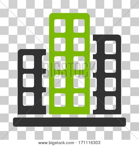 City icon. Vector illustration style is flat iconic bicolor symbol eco green and gray colors transparent background. Designed for web and software interfaces.
