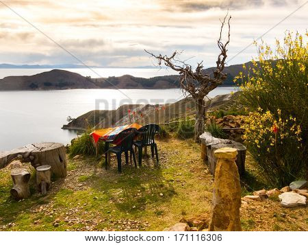 Dinner with a view over Lake Titicaca, from Isla del Sol, Bolivia