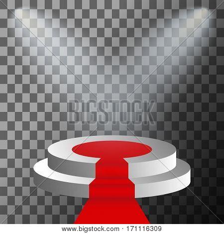 3d stage podium illuminated spotlight. Scene illumination with cold light effect. Vector illustration.