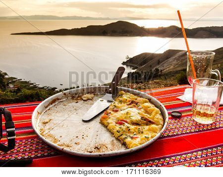 Pizza with a view over Lake Titicaca, from Isla del Sol, Bolivia