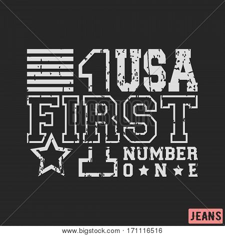 T-shirt print design. USA number 1 vintage stamp. Printing and badge applique label for t-shirts jeans casual wear. Vector illustration.