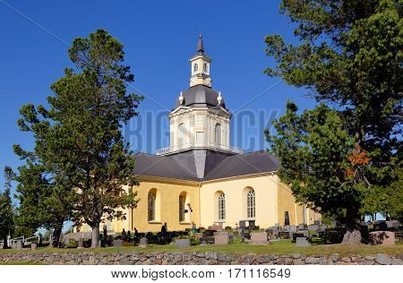 Tornio Finland - July 20 2016: The Alatornio church exterior in and a point in the Struve Geodetic Arc is located in the bell tower protected as a world heritage site.