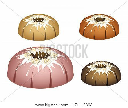 Illustration Set of Bundt Cake or Traditional Big Round Cake with Hole Inside Mirror Glaze Coating and Chocolate Sprinkles for Holiday Dessert Isolated on White Background.