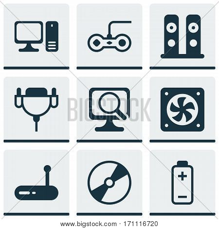 Set Of 9 Computer Hardware Icons. Includes Cd-Rom, Vga Cord, Router And Other Symbols. Beautiful Design Elements.