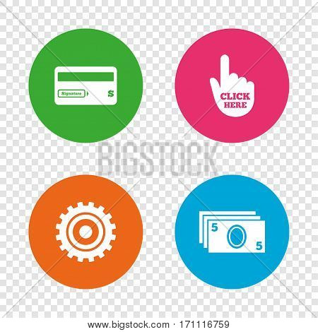 ATM cash machine withdrawal icons. Insert bank card, click here and check PIN, processing and get cash symbols. Round buttons on transparent background. Vector