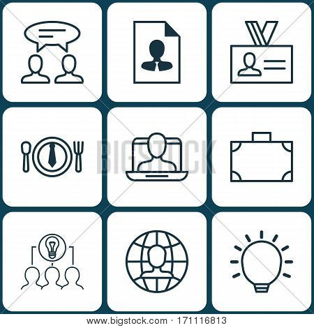 Set Of 9 Business Management Icons. Includes Social Profile, Portfolio, Great Glimpse And Other Symbols. Beautiful Design Elements.