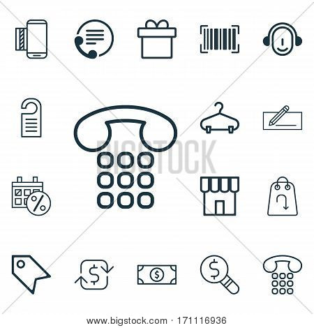 Set Of 16 E-Commerce Icons. Includes Money Transfer, Price Stamp, Employee And Other Symbols. Beautiful Design Elements.