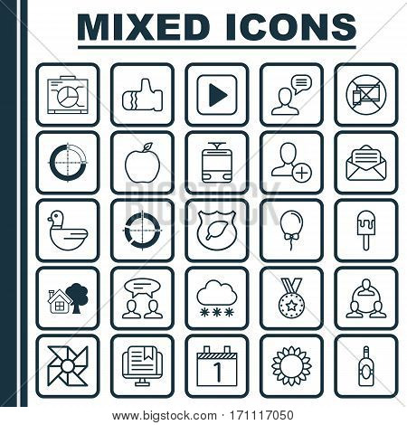 Set Of 25 Universal Editable Icons. Can Be Used For Web, Mobile And App Design. Includes Elements Such As Laptop Ventilator, Lolly, Read Message And More.