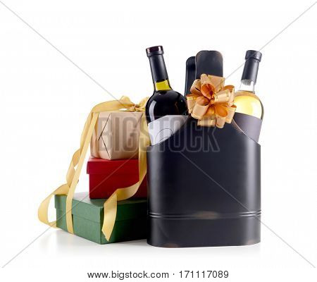 St. Valentines Day concept. Luxury leather bag with wine bottles and gift boxes isolated on white