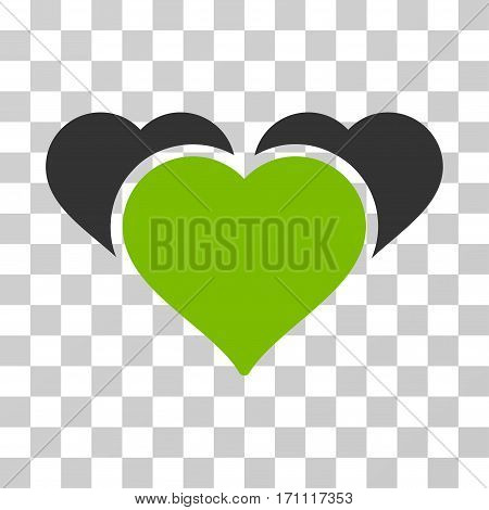 Favourite Hearts icon. Vector illustration style is flat iconic bicolor symbol eco green and gray colors transparent background. Designed for web and software interfaces.