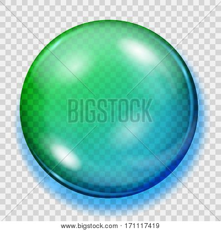 Transparent Blue And Green Sphere With Shadow