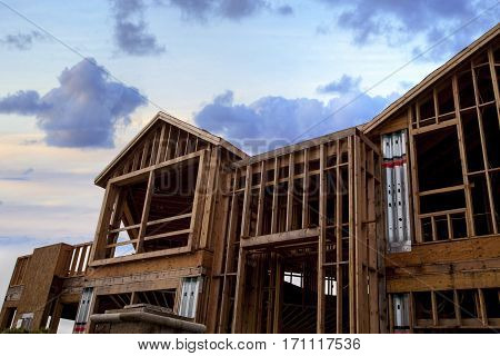 Wooden Frame Of A Home Being Built