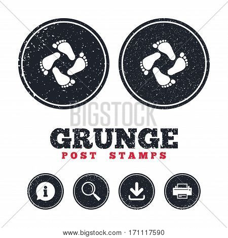 Grunge post stamps. Baby footprints icon. Child barefoot steps. Toddler feet symbol. Information, download and printer signs. Aged texture web buttons. Vector