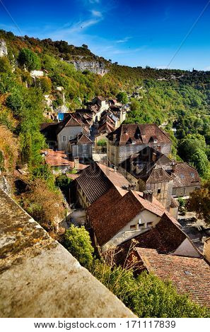 Rocamadour, one of the most beautiful village in France, view of the village roofs from the Sanctuary