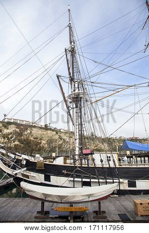 Pilgrim Sailboat Docked In Dana Point Harbor