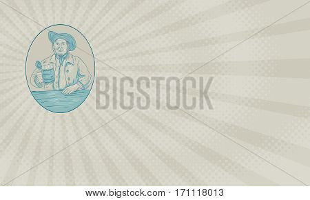 Business card showing Drawing sketch style illustration of a medieval gentleman beer drinker holding tankard set inside oval shape viewed from front.