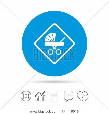 Baby on board sign icon. Infant in car caution symbol. Baby buggy carriage. Copy files, chat speech bubble and chart web icons. Vector