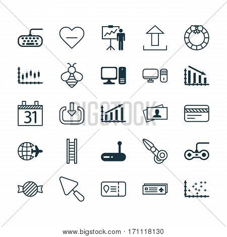 Set Of 25 Universal Editable Icons. Can Be Used For Web, Mobile And App Design. Includes Elements Such As Send Data, Calling Card, Putty And More.