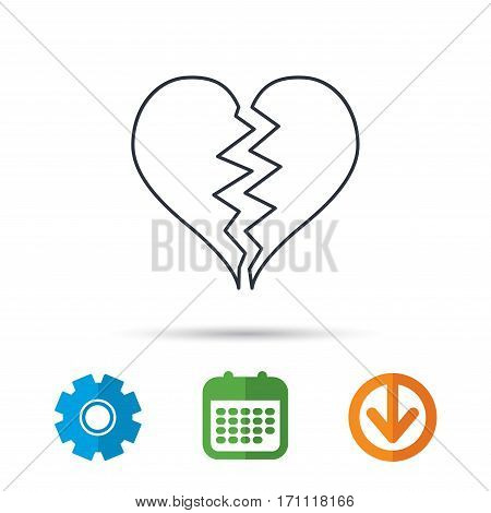 Broken heart icon. Divorce sign. End of love symbol. Calendar, cogwheel and download arrow signs. Colored flat web icons. Vector