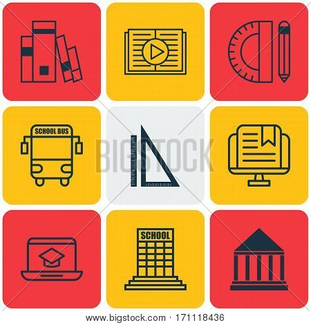 Set Of 9 Education Icons. Includes Academy, Library, Taped Book And Other Symbols. Beautiful Design Elements.