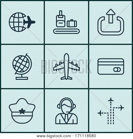 Set Of 9 Traveling Icons. Includes Worldwide Flight, World Sphere, Operator And Other Symbols. Beautiful Design Elements.