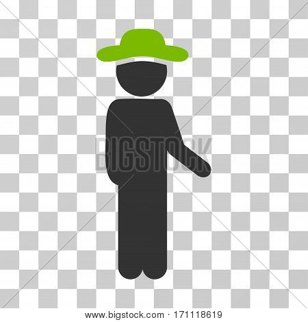 Gentleman Idler icon. Vector illustration style is flat iconic bicolor symbol eco green and gray colors transparent background. Designed for web and software interfaces.
