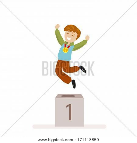 Boy took first place in sports. Award Ceremony Gold Medal winner. Flat character isolated on white background. Vector, illustration EPS10