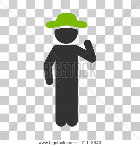 Gentleman Opinion icon. Vector illustration style is flat iconic bicolor symbol eco green and gray colors transparent background. Designed for web and software interfaces.