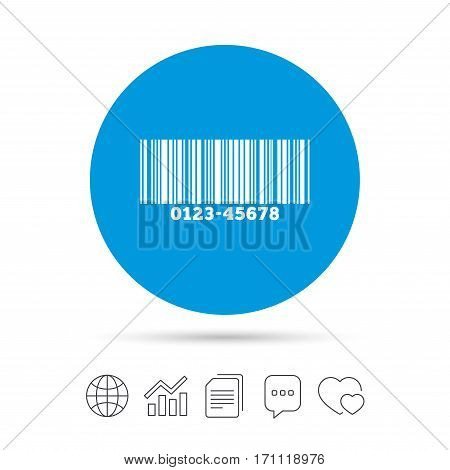 Bar code sign icon. Scan code symbol. Copy files, chat speech bubble and chart web icons. Vector