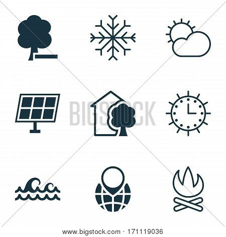 Set Of 9 Eco Icons. Includes Pin Earth, Bonfire, Delete Woods And Other Symbols. Beautiful Design Elements.