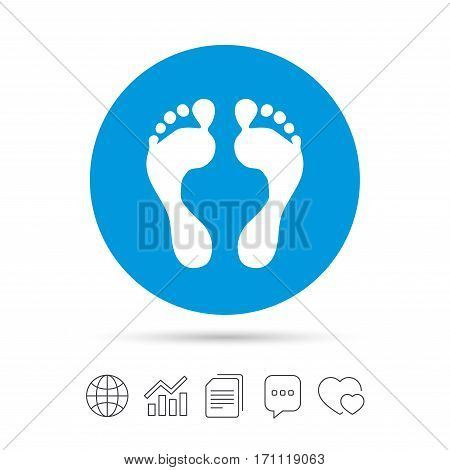 Human footprint sign icon. Barefoot symbol. Foot silhouette. Copy files, chat speech bubble and chart web icons. Vector