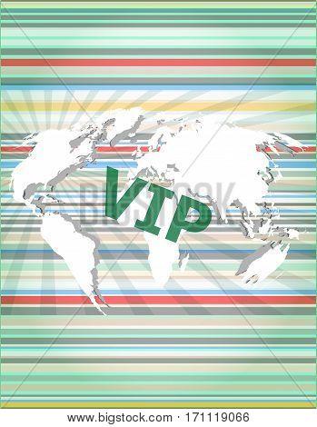Words Vip On Digital Screen, Business Concept Of Citation, Info, Testimonials, Notice, Textbox