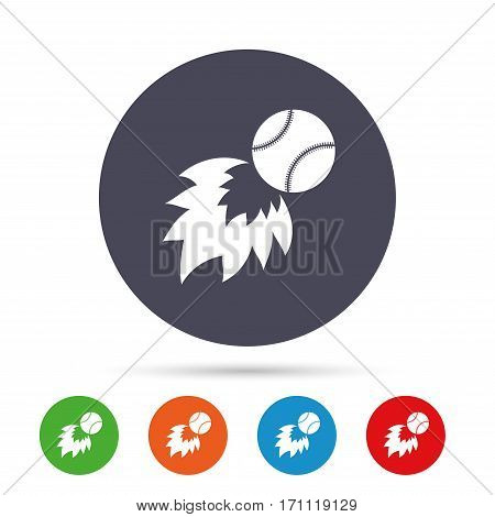 Baseball fireball sign icon. Sport symbol. Round colourful buttons with flat icons. Vector