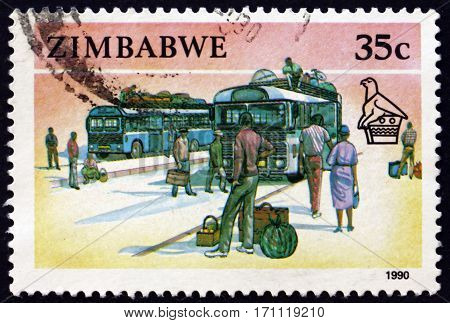 ZIMBABWE - CIRCA 1990: a stamp printed in Zimbabwe shows Buses circa 1990