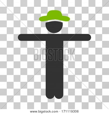 Gentleman Scarescrow icon. Vector illustration style is flat iconic bicolor symbol eco green and gray colors transparent background. Designed for web and software interfaces.