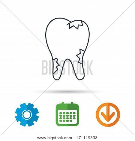 Caries icon. Tooth health sign. Calendar, cogwheel and download arrow signs. Colored flat web icons. Vector