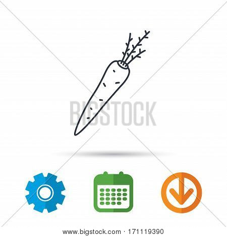 Carrot icon. Vegetarian food sign. Natural vegetable symbol. Calendar, cogwheel and download arrow signs. Colored flat web icons. Vector