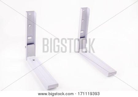 White bracket for TV on a white background isolation