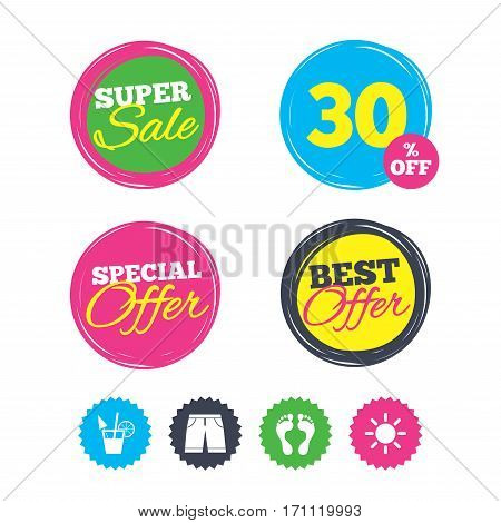 Super sale and best offer stickers. Beach holidays icons. Cocktail, human footprints and swimming trunks signs. Summer sun symbol. Shopping labels. Vector