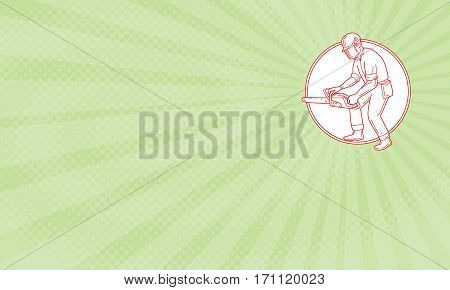 Business card showing Mono line style illustration of lumberjack arborist tree surgeon wearing helmet protective gear holding operating a chainsaw viewed from the side set inside circle.