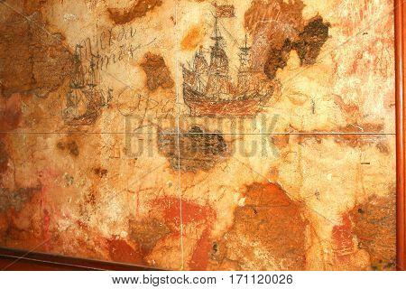 Wall art of galleons inside San Cristobal