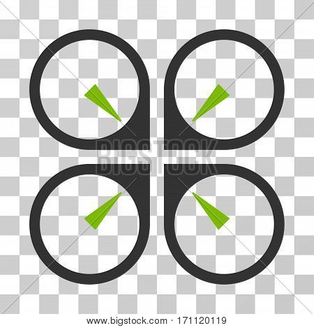 Hover Drone icon. Vector illustration style is flat iconic bicolor symbol eco green and gray colors transparent background. Designed for web and software interfaces.