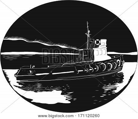 Illustration of a river tugboat towboat or pushboat in the river set inside oval shape with water and mountain in the background done in retro woodcut style.