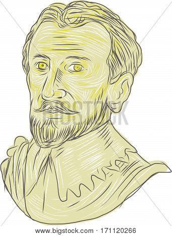 Drawing sketch style illustration of a bust of a 15th Century Spanish conquistador explorer navigator on isolated white background.