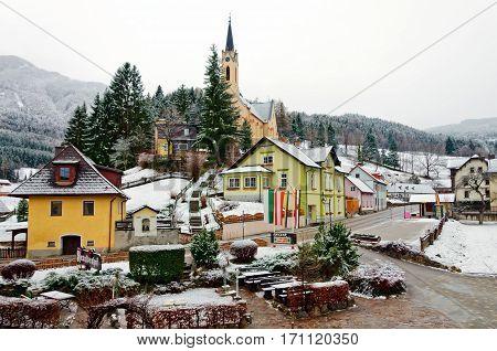 PREIN ON THE RAX/ AUSTRIA - FEBRUARY 17. Alpine village Prein on the Rax (german: Prein an der Rax) on February 17, 2014. Lower Austria.