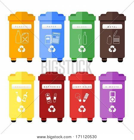 Vector set of colorful trash sorting bins for plastic, paper, glass, metal, organic, batteries, light bulbs and e-waste. Recycling for household and city street, hand sorting method for recycling