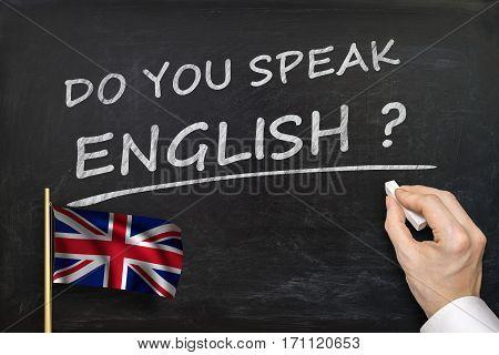 Do You Speak English? Text Written On Blackboard.