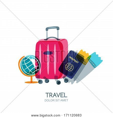 Multicolor Globe, Luggage Suitcase, Passport And Airplane Tickets. Vector Doodle Isolated Illustrati