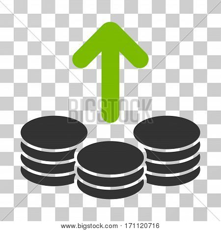 Payout Coins icon. Vector illustration style is flat iconic bicolor symbol eco green and gray colors transparent background. Designed for web and software interfaces.